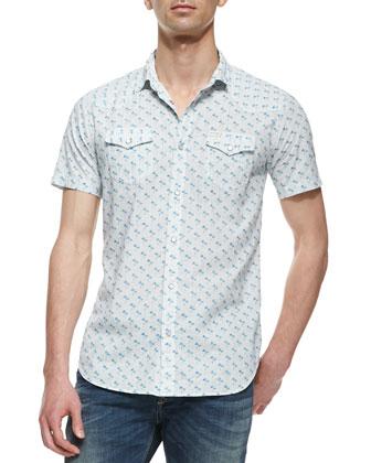 Palm Tree Print Poplin Short-Sleeve Shirt