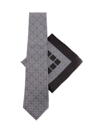 Silk Tie & Pocket Square Set, Black