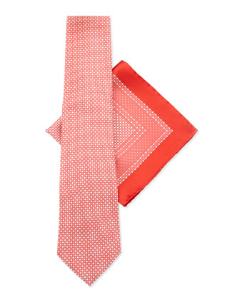 Silk Tie & Pocket Square Set, Red/Blue