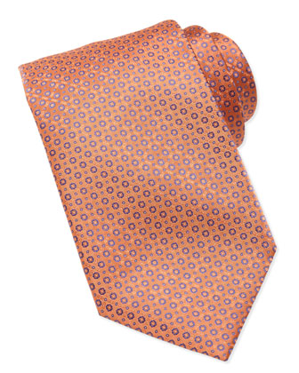 Micro-Medallion Silk Tie, Orange