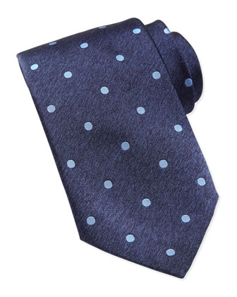 Polka-Dot Silk Tie, Blue