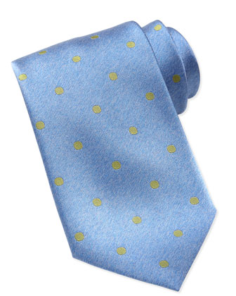 Polka-Dot Silk Tie, Blue/Green