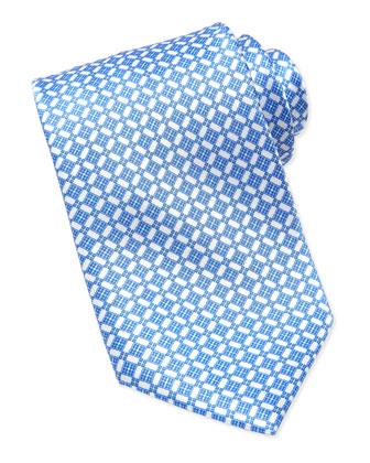 Micro-Floral Silk Tie, Navy