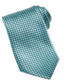 Medallion Silk Tie, Teal