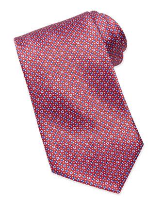 Micro Flower Silk Tie, Pink