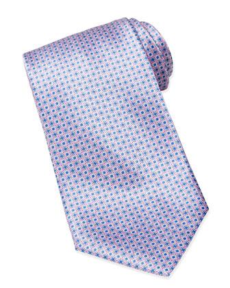 Micro Medallion Silk Tie, Navy/Pink