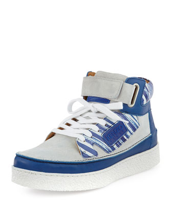 Kenyon Suede & Printed Leather High-Top Sneaker, White/Blue