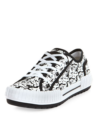 Helmut Tiger-Print Low-Top Sneaker, Black/White