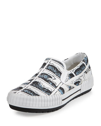 Men's Hevyn Wave-Print Slip-On Sneaker, White/Blue