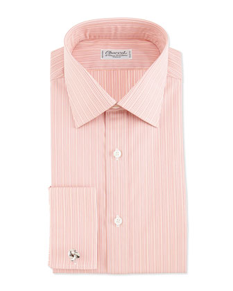 Striped French-Cuff Dress Shirt, Orange