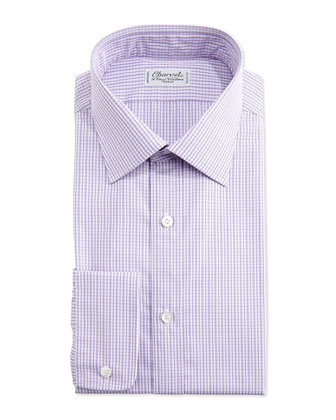 Plaid Barrel-Cuff Dress Shirt, Berry/White
