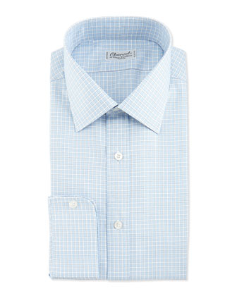 Plaid Barrel-Cuff Dress Shirt, Blue/White