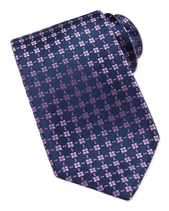 Tiny Square-Patterned Tie, Navy/Lavender