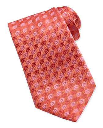 Overlap-Circle Silk Tie, Red/Pink