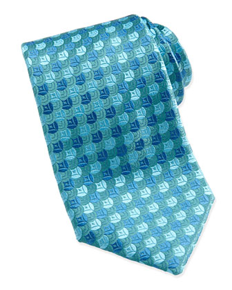 Overlap-Circle Silk Tie, Teal/Blue