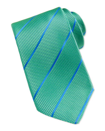 Textured Striped Silk Tie, Teal/Blue