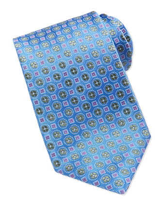 Circle & Square-Pattern Tie, Blue/Pink/Green