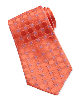 Geometric-Print Silk Tie, Orange