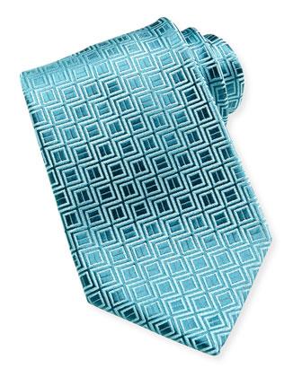 Zigzag Square Tie, Aqua/Blue