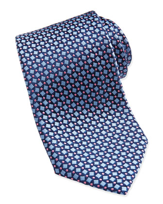 Square Pattern Silk Tie, Blue/Pink