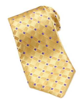 Square Pattern Silk Tie, Yellow/Purple