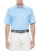 Lisle-Knit Cotton Polo, Blue