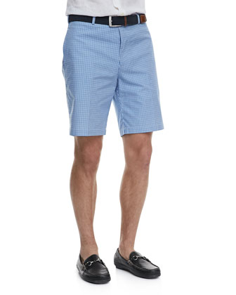 Yarn-Dyed Gingham Shorts, Blue