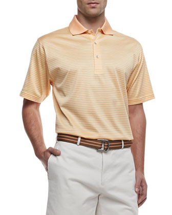 Classic Striped Polo, Yellow/Orange
