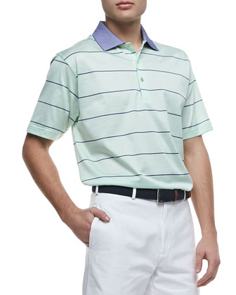 Miami Striped Short-Sleeve Polo & Winston Washed Twill Shorts