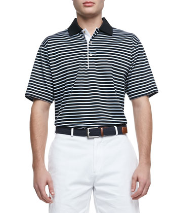 Bugle-Striped Short-Sleeve Polo, Black