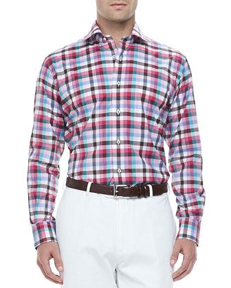 Multi-Check Long-Sleeve Sport Shirt, Pink Sand