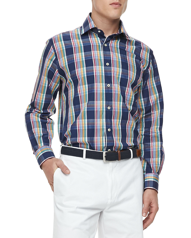 Mens Ibiza Plaid Long Sleeve Shirt   Peter Millar   Navy (X LARGE)