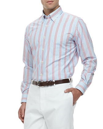 Port Striped Long-Sleeve Shirt & Raleigh Washed Flat-Front Pants