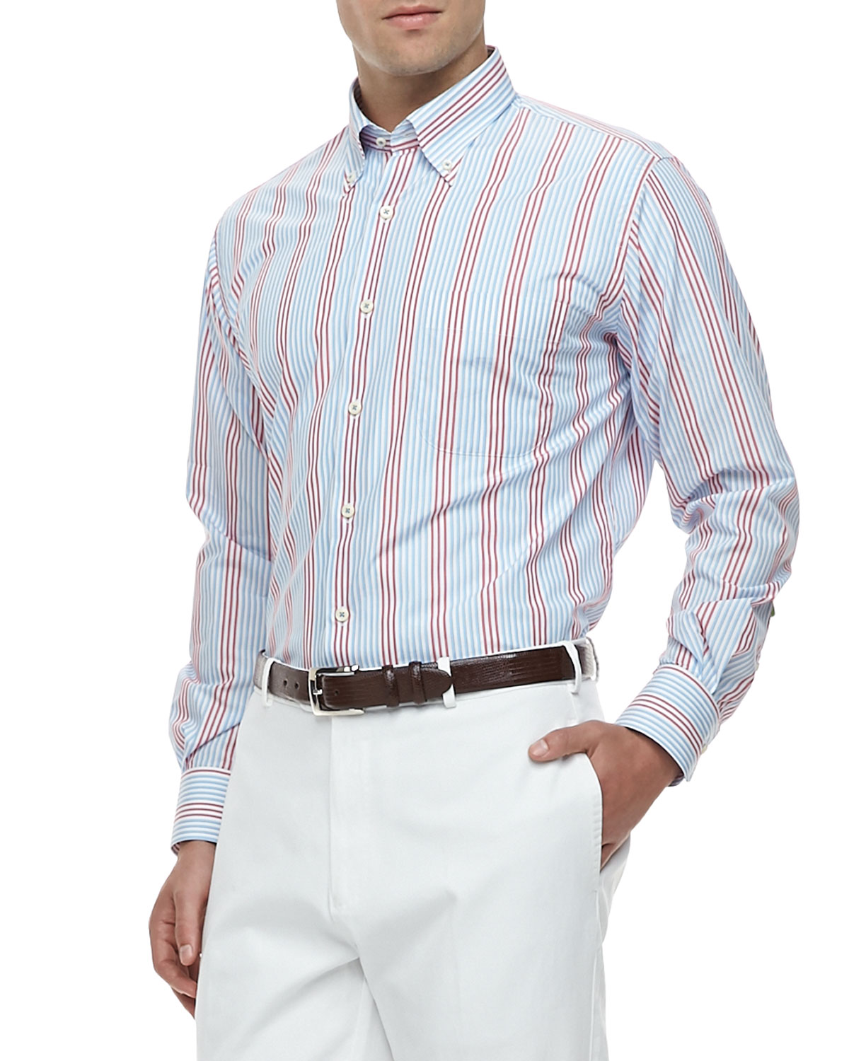Mens Port Striped Long Sleeve Shirt, Blue/Red   Peter Millar   Blue/Red (LARGE)