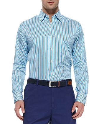 Multi-Stripe Sport Shirt, Blue