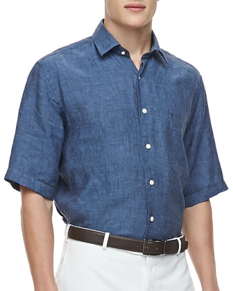 Linen Short-Sleeve Shirt, Navy