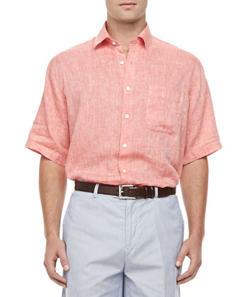 Linen Short-Sleeve Shirt, Nectarine