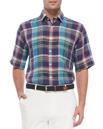 Plaid Linen Short-Sleeve Shirt, Navy