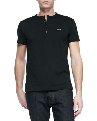 Short-Sleeve Pima Henley, Black