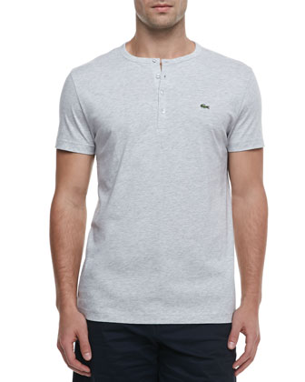 Short-Sleeve Pima Henley, Gray