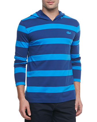 Striped Long-Sleeve Hooded Tee, Blue