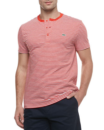 Short-Sleeve Striped Henley, Red/Gray