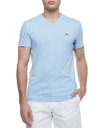Pima-Jersey V-Neck Tee, Light Blue