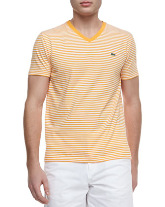 Striped Jersey V-Neck Tee, Orange/White