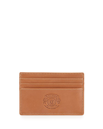 Slim Leather Card Case, Chestnut
