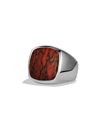 Exotic Stone Signet Ring with Dinosaur Bone