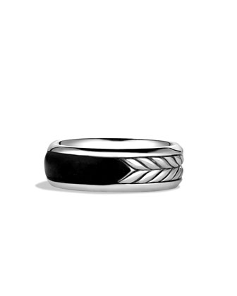 Exotic Stone Band Ring with Black Onyx