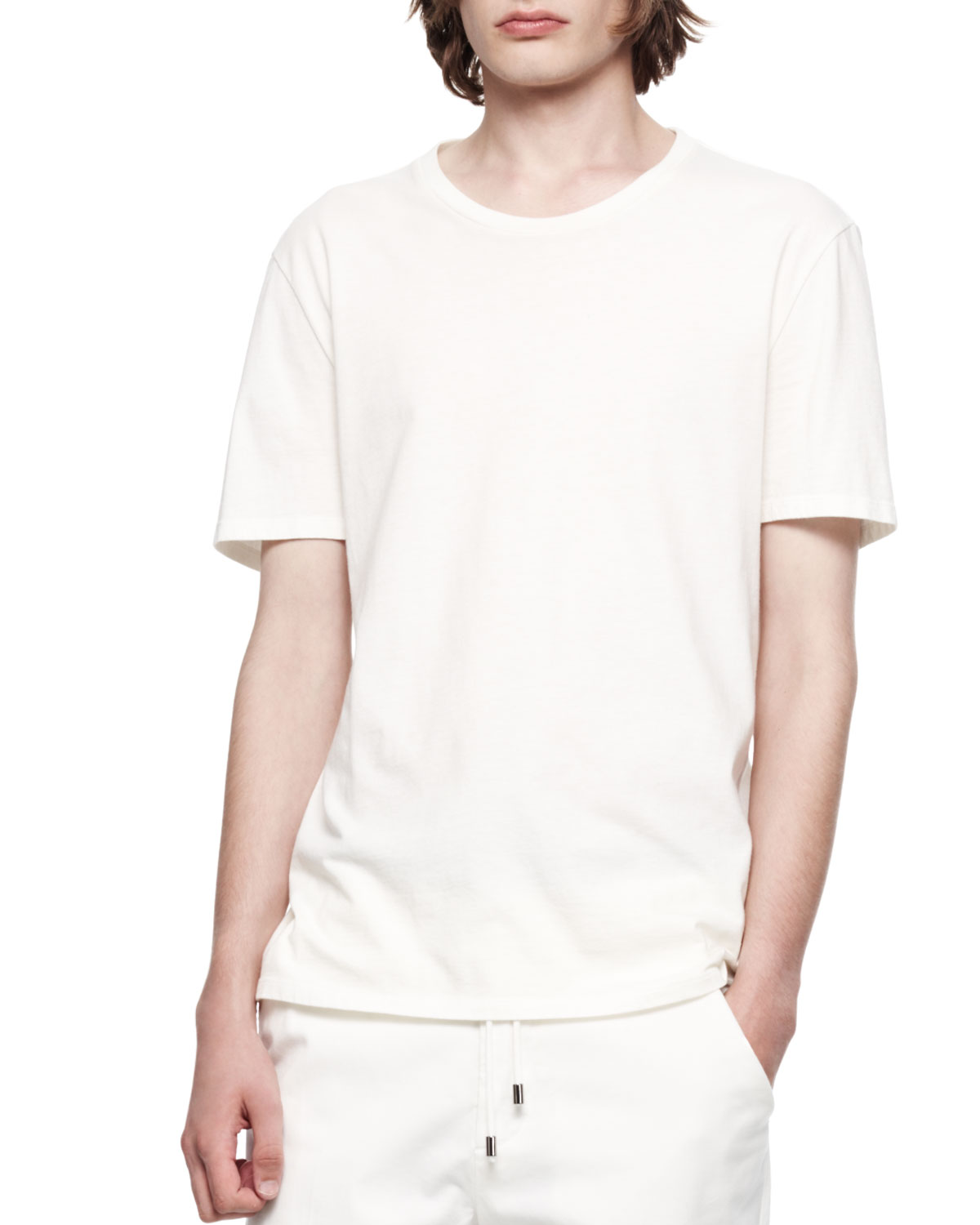 Mens Short Sleeve Crew T Shirt   Maison Martin Margiela   Cream (50)