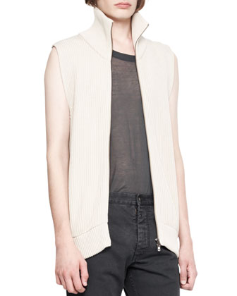 Sleeveless Ribbed Zip Sweater
