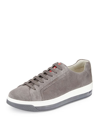 Levitate Men's Suede Low-Top Sneaker, Gray